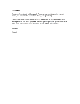 Complaint Rejection Letter
