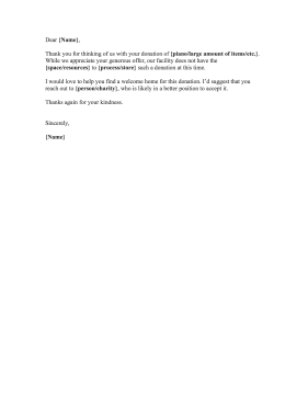 Donation Rejection Letter