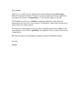Grant Funding Rejection Letter