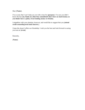 Personal Loan Rejection Letter
