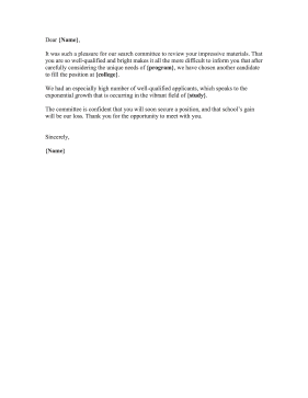 Professor Position Rejection Letter